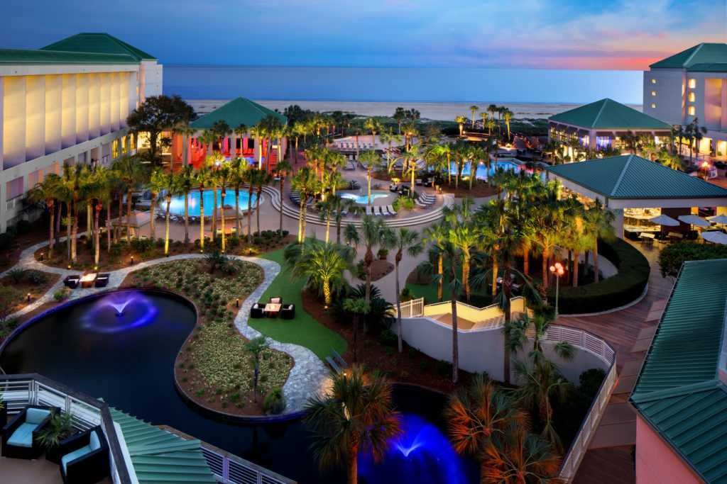 An exterior shot of the Westin Hilton Head Resort at dusk
